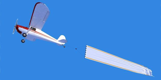 Rendu 3d d'un petit avion portant une bannière vierge idéale pour insérer votre propre message