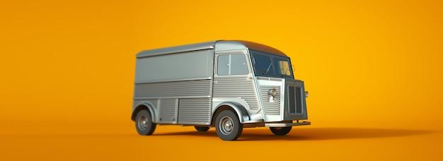 Rendu 3d d'un petit camion vintage