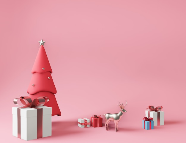 Rendu 3d petites boîtes à cadeaux et sapin de noël rose métallique