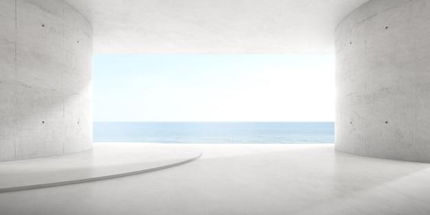 Rendu 3d d'une pièce en béton vide avec une grande fenêtre sur le fond de la mer.