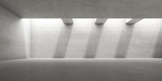 Rendu 3d d'une pièce en béton vide avec une ombre sur le mur.
