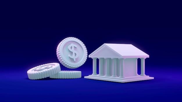 Rendu 3d d'une pièce de monnaie avec un bâtiment comme faisant référence à une banque en arrière-plan