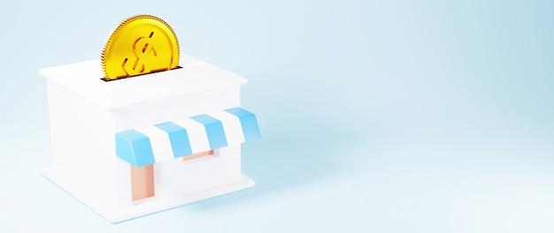 Rendu 3d de la pièce d'or et de la boutique. achats en ligne et e-commerce sur le concept d'entreprise web. transaction de paiement en ligne sécurisée avec smartphone.