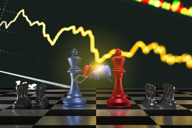 Rendu 3d pièces d'échecs de combat roi d'échecs au centre avec pièce d'échecs à l'arrière combat d'affaires