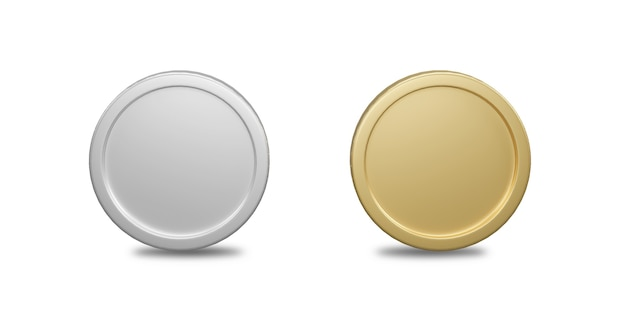 Rendu 3d pièces d'or et d'argent isolés sur fond blanc