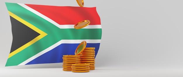 Rendu 3d de pièces d'or et drapeau de l'afrique du sud. affaires en ligne et commerce électronique sur le concept de magasinage en ligne. transaction de paiement en ligne sécurisée avec smartphone.