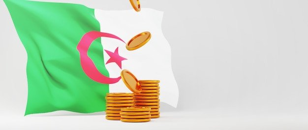 Rendu 3d de pièces d'or et drapeau de l'algérie. affaires en ligne et commerce électronique sur le concept de magasinage en ligne. transaction de paiement en ligne sécurisée avec smartphone.