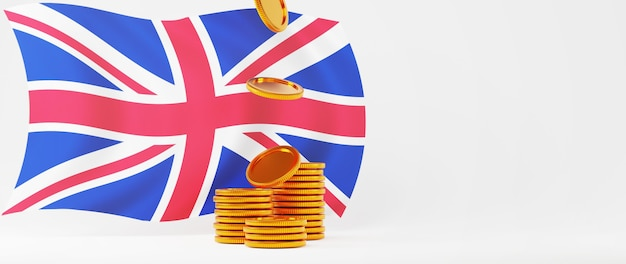 Rendu 3d de pièces d'or et drapeau de l'angleterre. achats en ligne et e-commerce sur le concept d'entreprise web. transaction de paiement en ligne sécurisée avec smartphone.
