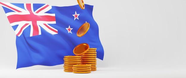 Rendu 3d de pièces d'or et drapeau de l'australie. achats en ligne et e-commerce sur le concept d'entreprise web. transaction de paiement en ligne sécurisée avec smartphone.