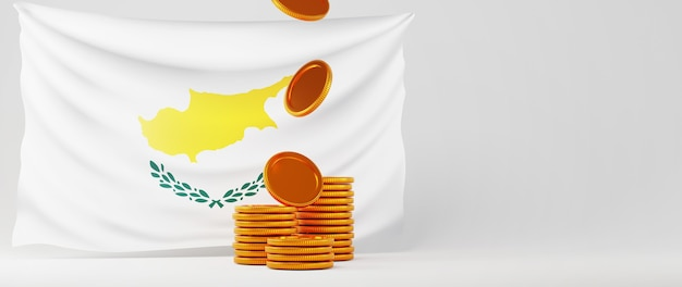 Rendu 3d de pièces d'or et drapeau de chypre. affaires en ligne et commerce électronique sur le concept de magasinage en ligne. transaction de paiement en ligne sécurisée avec smartphone.