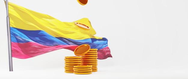 Rendu 3d de pièces d'or et drapeau colombien. achats en ligne et e-commerce sur le concept d'entreprise web. transaction de paiement en ligne sécurisée avec smartphone.