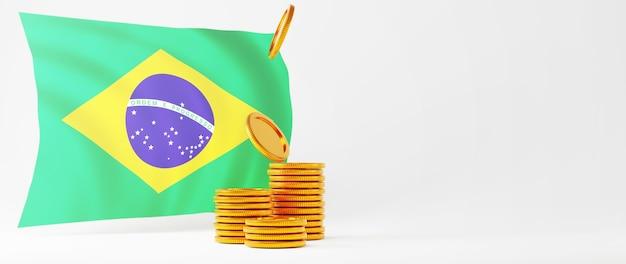 Rendu 3d de pièces d'or et drapeau du brésil. achats en ligne et e-commerce sur le concept d'entreprise web. transaction de paiement en ligne sécurisée avec smartphone.