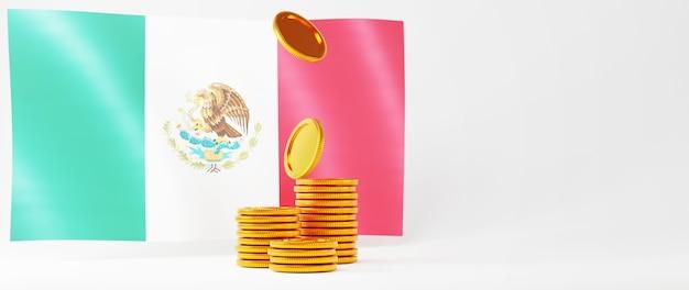 Rendu 3d de pièces d'or et drapeau du mexique. achats en ligne et e-commerce sur le concept d'entreprise web. transaction de paiement en ligne sécurisée avec smartphone.