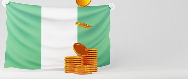 Rendu 3d de pièces d'or et drapeau du nigeria. affaires en ligne et commerce électronique sur le concept de magasinage en ligne. transaction de paiement en ligne sécurisée avec smartphone.