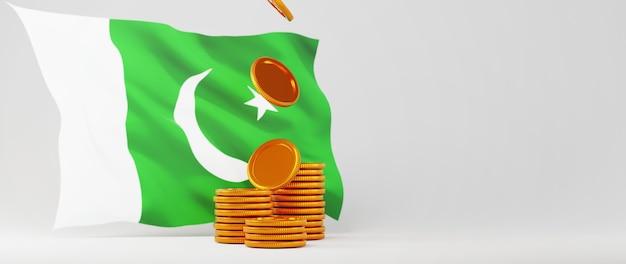 Rendu 3d de pièces d'or et drapeau du pakistan. affaires en ligne et commerce électronique sur le concept de magasinage en ligne. transaction de paiement en ligne sécurisée avec smartphone.