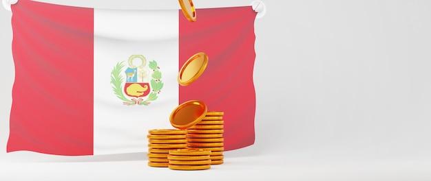 Rendu 3d de pièces d'or et drapeau du pérou. affaires en ligne et commerce électronique sur le concept de magasinage en ligne. transaction de paiement en ligne sécurisée avec smartphone.