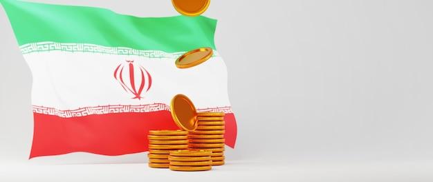 Rendu 3d de pièces d'or et drapeau de l'iran. affaires en ligne et commerce électronique sur le concept de magasinage en ligne. transaction de paiement en ligne sécurisée avec smartphone.