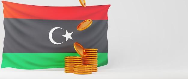 Rendu 3d de pièces d'or et drapeau de la libye. affaires en ligne et commerce électronique sur le concept de magasinage en ligne. transaction de paiement en ligne sécurisée avec smartphone.