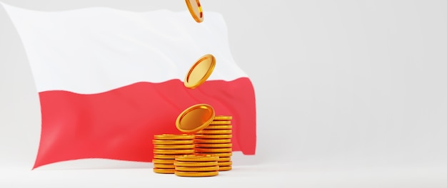 Rendu 3d de pièces d'or et drapeau de la pologne. achats en ligne et e-commerce sur le concept d'entreprise web. transaction de paiement en ligne sécurisée avec smartphone.
