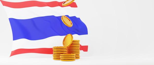 Rendu 3d de pièces d'or et drapeau de la thaïlande. achats en ligne et e-commerce sur le concept d'entreprise web. transaction de paiement en ligne sécurisée avec smartphone.