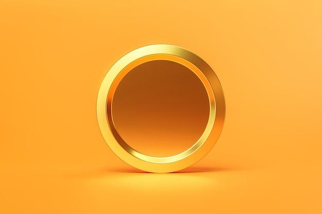 Rendu 3d des pièces d'or en espèces ou en monnaie d'argent sur fond doré
