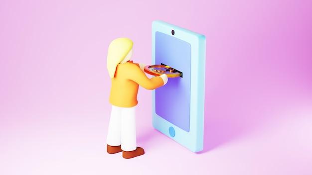 Rendu 3d de pièces d'or et de femme. affaires en ligne et commerce électronique sur le concept de magasinage en ligne. transaction de paiement en ligne sécurisée avec smartphone.