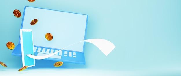 Rendu 3d de pièces d'or et mobile. achats en ligne et e-commerce sur le concept d'entreprise web. transaction de paiement en ligne sécurisée avec smartphone.