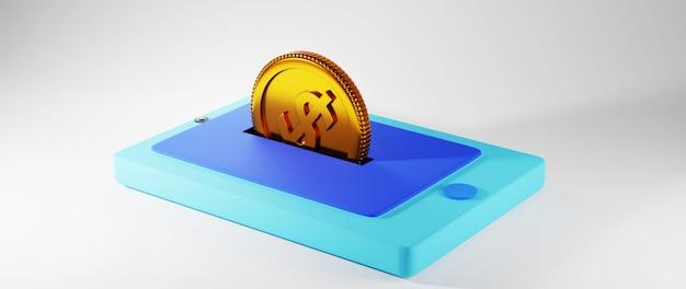 Rendu 3d de pièces d'or et mobiles. achats en ligne et e-commerce sur le concept d'entreprise web. transaction de paiement en ligne sécurisée avec smartphone.