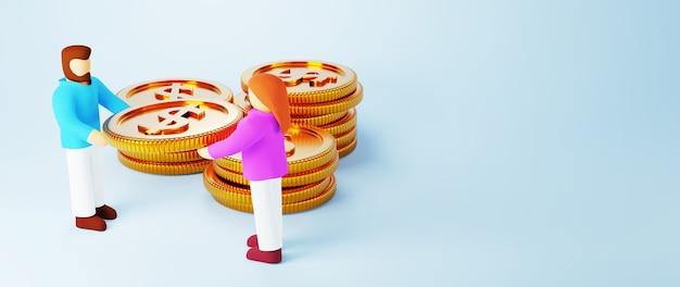Rendu 3d de pièces d'or et de personnes. affaires en ligne et commerce électronique sur le concept de magasinage en ligne. transaction de paiement en ligne sécurisée avec smartphone.