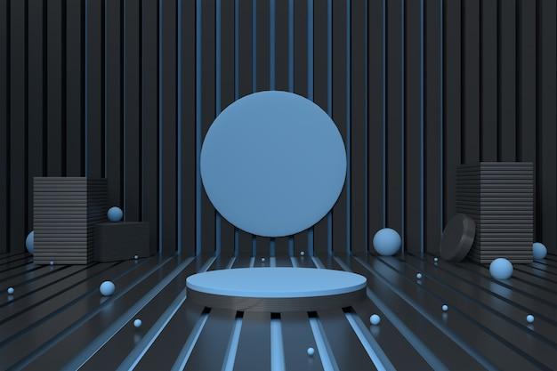Rendu 3d piédestal cercle bleu et noir
