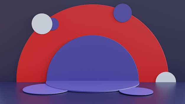 Rendu 3d. piédestal coloré pour affichage, piédestal ou plate-forme, support de produit vierge.