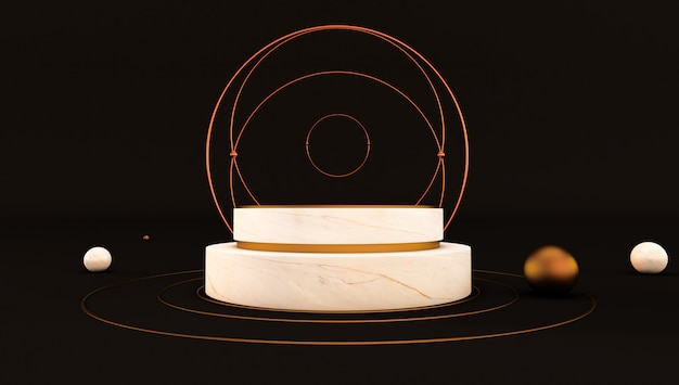 Rendu 3d de piédestal en marbre blanc isolé sur fond noir, maquette minimaliste de luxe
