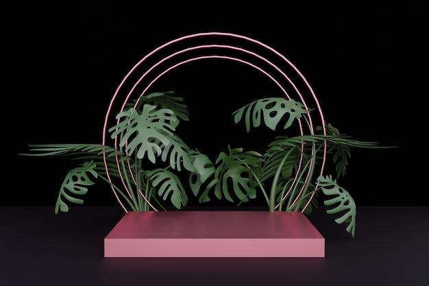 Rendu 3d. piédestal en marbre pour affichage, piédestal ou plate-forme, support de produit vierge.