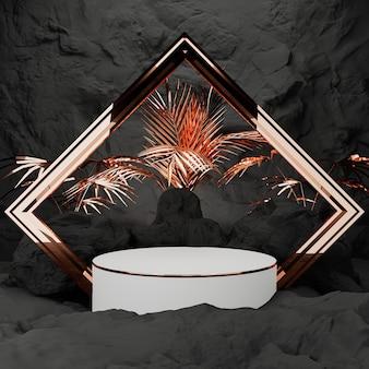 Rendu 3d. piédestal pour affichage, piédestal ou plate-forme, fond en forme de pierre et de roche, support de produit vierge.