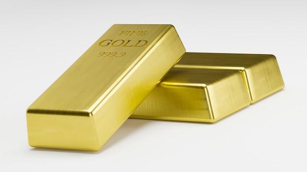 Rendu 3d pile de lingots d'or, poids 1000 grammes