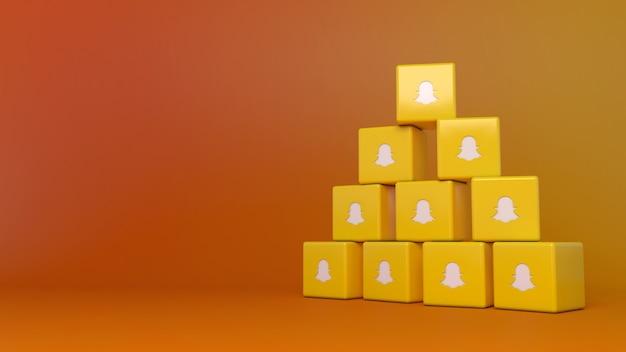 Rendu 3d d'une pile de logos de cube snapchat avec espace de copie