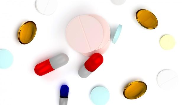 Rendu 3d de pilules colorées