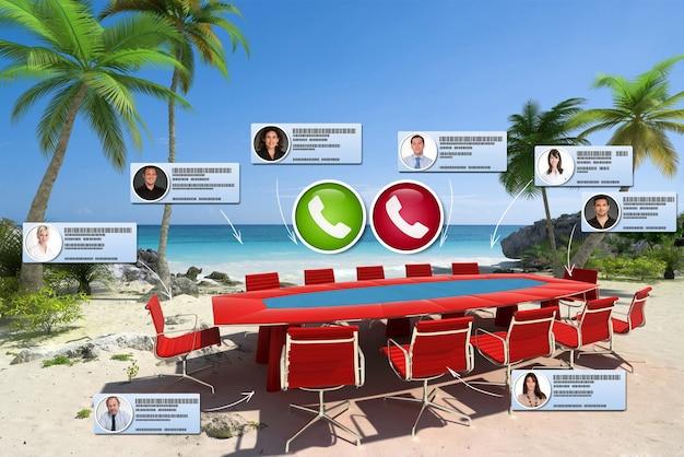 Rendu 3d d'une plage tropicale avec une table de réunion de la salle du conseil d'administration avec des contacts virtuels sur un appel vidéo