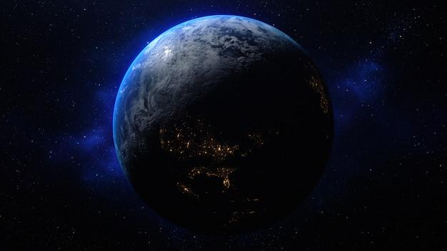 Rendu 3d de la planète terre dans l'espace