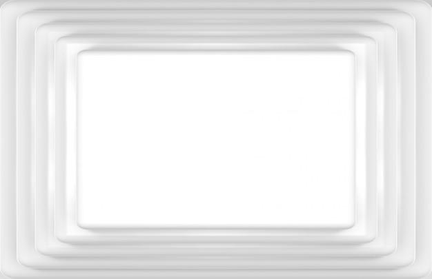 Rendu 3d. plusieurs couches de plaque de papier rectangle carré blanc vide ou fond de scène.