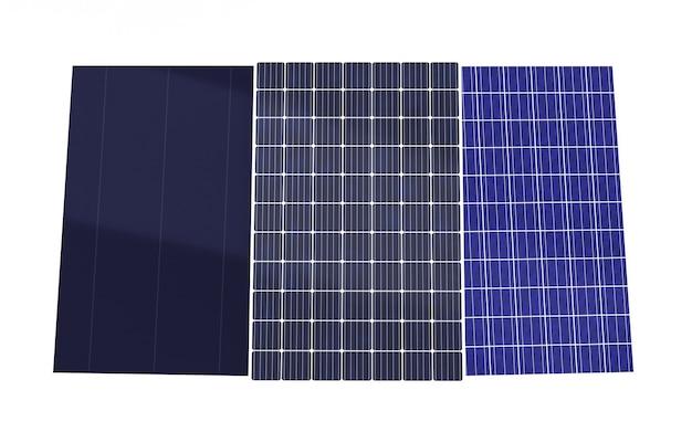 Rendu 3d de plusieurs types de panneaux solaires isolés sur fond blanc, les cellules photovoltaïques monocristallines, polycristallines et à couche mince génèrent de l'électricité