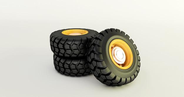 Rendu 3d de pneus de voiture isolé sur jeu de roues de voiture blanche.