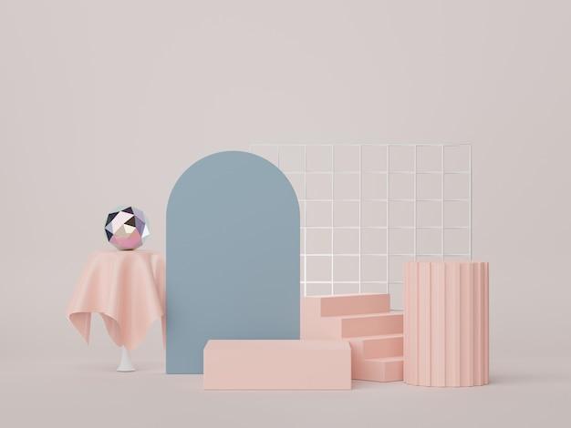 Rendu 3d d'un podium d'affichage minimal pour la maquette et la présentation du produit