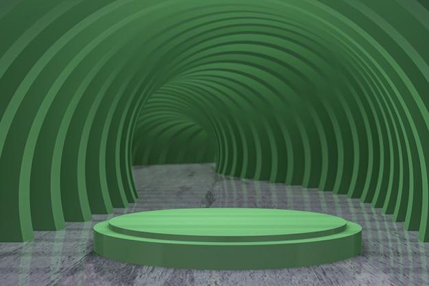 Rendu 3d, podium circulaire vert