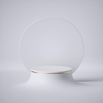 Rendu 3d. podium de cylindre vide, socle vacant, scène ronde, support de vitrine, présentation du produit, tableau blanc, plate-forme d'exposition.