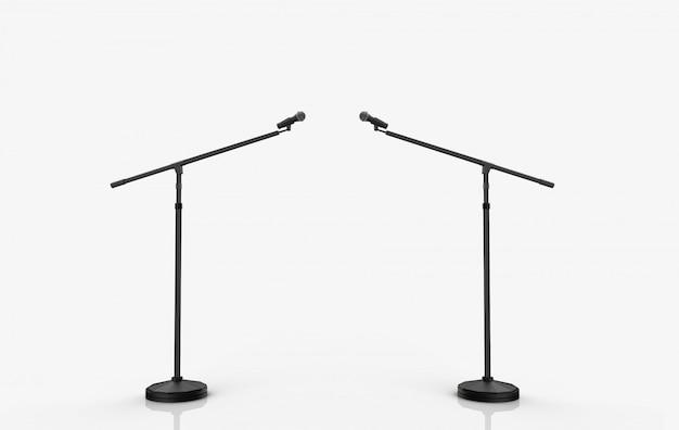 Rendu 3d. podium de deux microphones sur fond blanc.