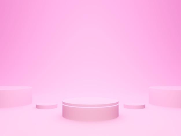 Rendu 3d. podium géométrique rose.
