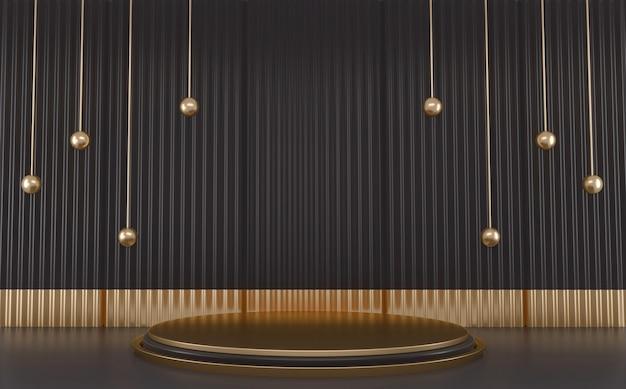 Rendu 3d de podium de luxe noir et doré