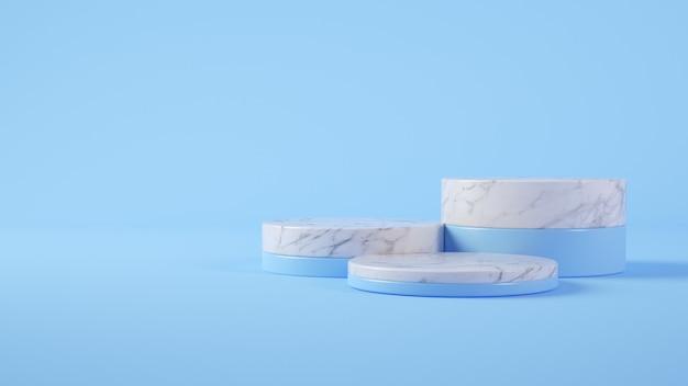 Rendu 3d de podium en marbre et bleu