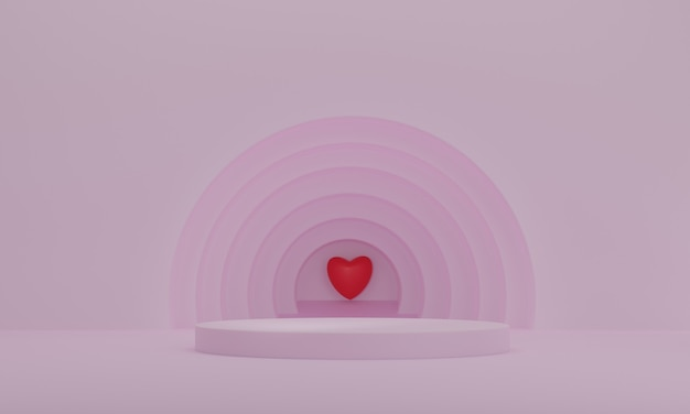 Rendu 3d, podium de présentation avec coeur rouge sur fond de cercles roses